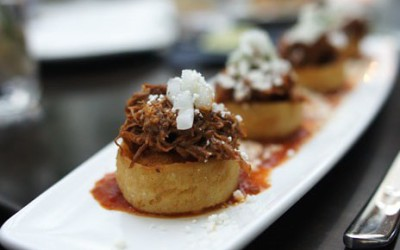 Mexican Sopes with tequila pulled pork