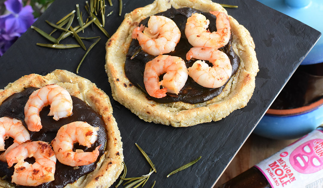 Shrimp Sopes with Mole Poblano