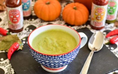 Leek & Broccoli Soup with Jalapeno Sauce
