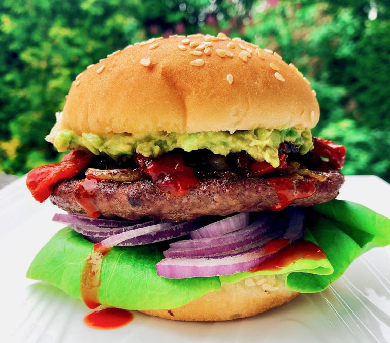 Mexican Burgers with Habanero Roasted Peaches