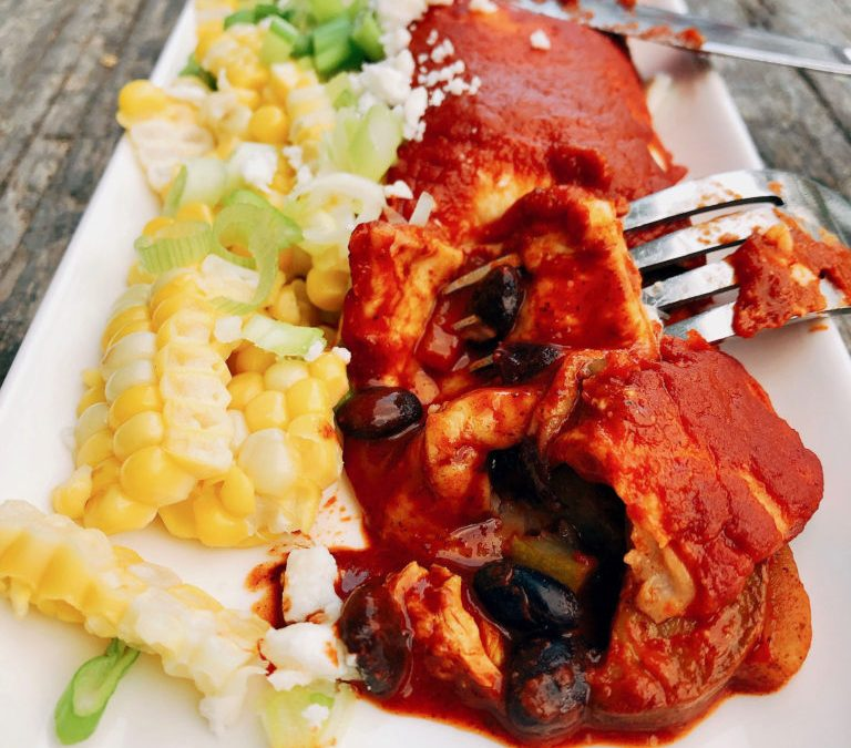 Mexican chicken enchilada recipe with courgette and Pibil cooking sauce